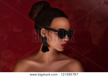 Beauty Portrait Of Elegant African American Girl.