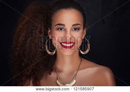 Beauty Portrait Of Elegant African American Girl.