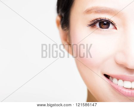 half face of young beautiful woman isolated