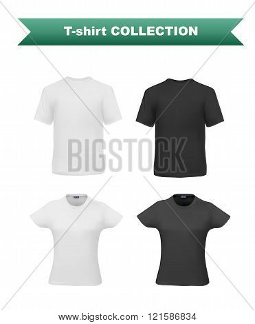 T-shirt template set for men and women, realistic gradient mesh vetor eps10 illustration, black and white mockups on white background