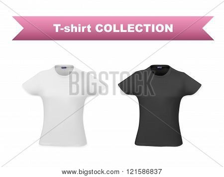 T-shirt template set for women, realistic gradient mesh vetor eps10 illustration on white background, black and white shirts