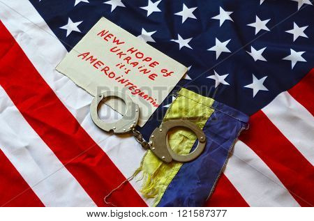 Partnership in colonial stile. USA and Ukraine Flag