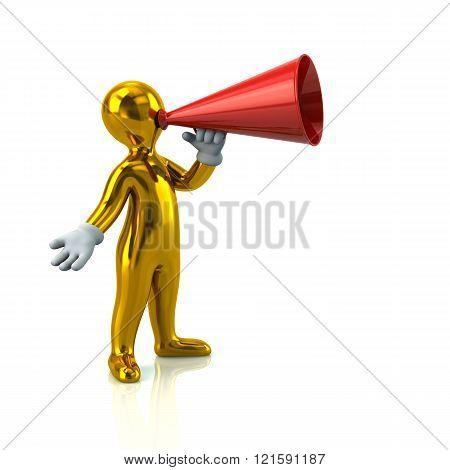 Illustration Of Golden Man With A Megaphone
