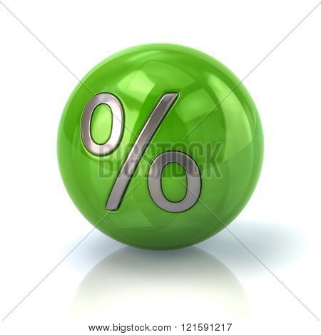 Green Sphere With The Percent Symbol