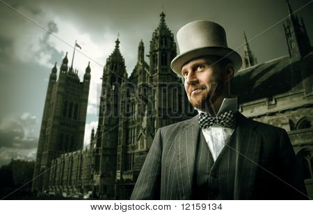 Portrait of a gentleman standing in front of a cathedral