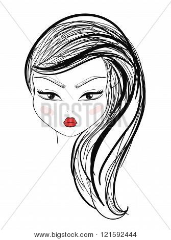 Isolated fashion girl with makeup and red lips sketch style.