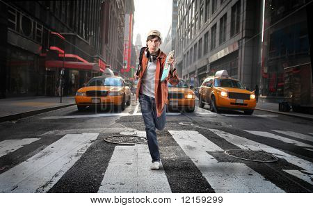 young man run in the city