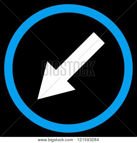 Down-Left Rounded Arrow Flat Vector Symbol