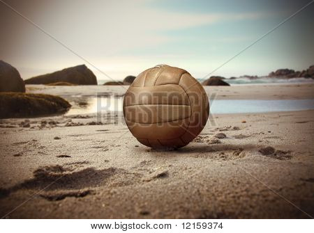Volley ball lying on a beach