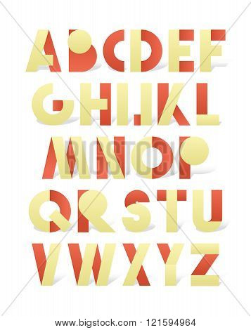 Retro font in red and yellow. Beige alphabet with shadow