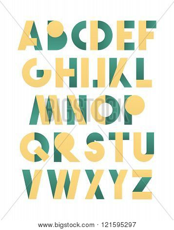 Retro font in green and yellow. Beige alphabet. Realistic letters