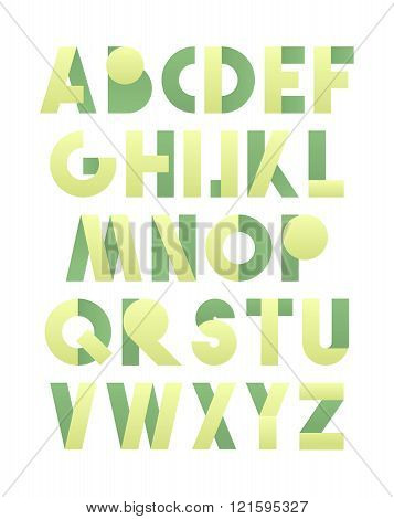 Retro font in green. Green alphabet. Realistic letters
