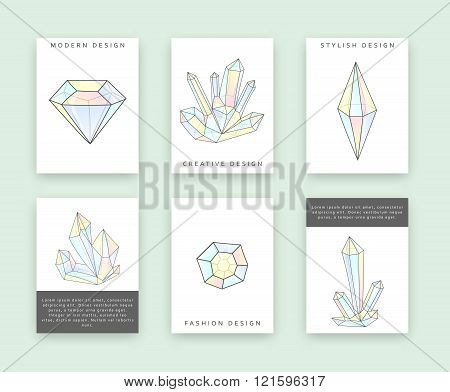 Set templates for printing with crystals and diamonds. Rhinestones doodle