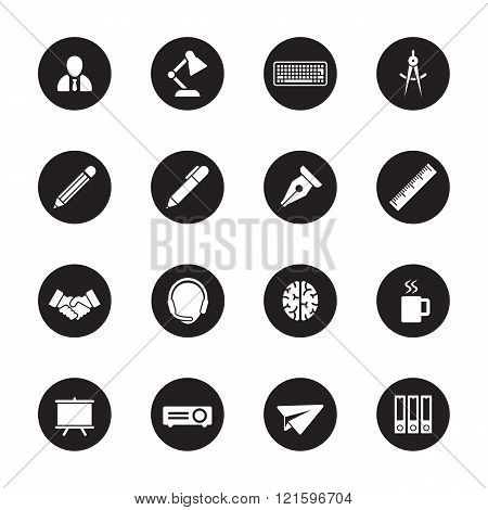 White Flat Business And Office Icon Set On Black Circle