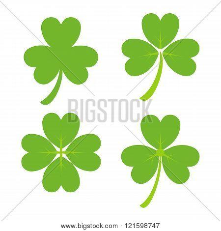 Set of Green Shamrock Symbols and Icon, St Patricks Day