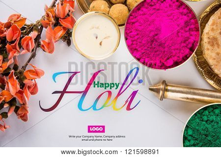 happy holi greeting card, holi food and colours