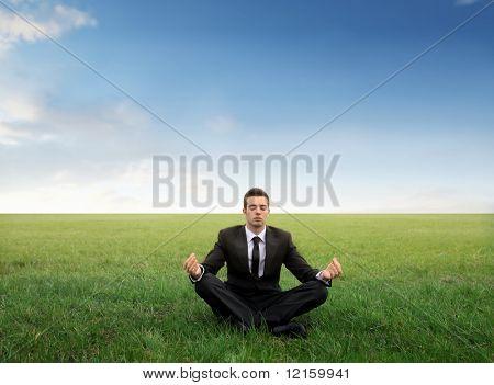 Kaufmann Meditation auf einer grünen Wiese
