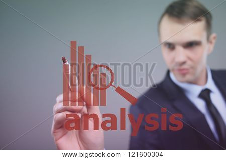 businessman drawing  graph, business strategy as concept. analysis.