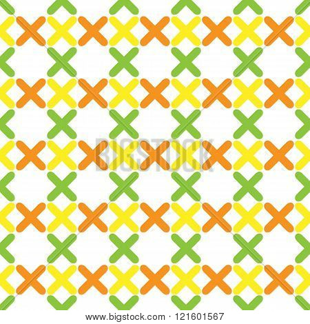 The seamless pattern consisting of colorful crosses