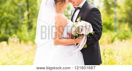 nice wedding bouquet in bride's hand