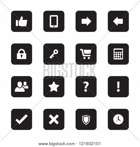 White Flat Computer And Miscellaneous Icon Set On Black Rounded Rectangle
