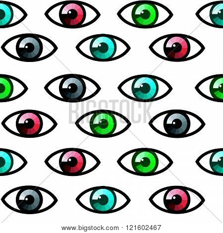 Seamless background with colored eyes on white