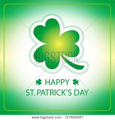 Happy St Patricks Day greeting card with shamrock green background 2