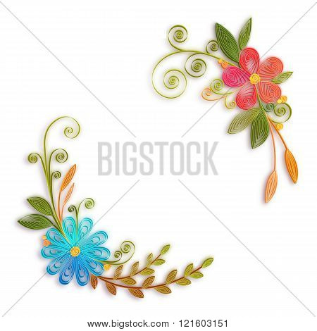 Vector color flower branch in quilling technique