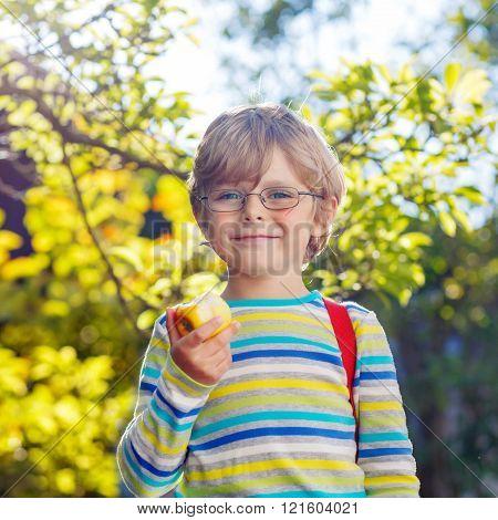 Little kid boy with apple on way to school