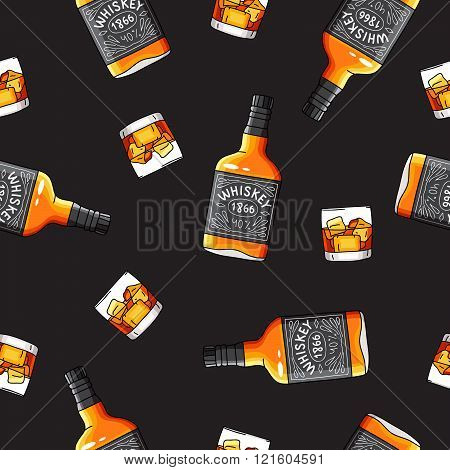 Seamless Vector Pattern Of The Bottles Of Whiskey