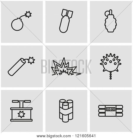 Vector Line Bomb Icon Set