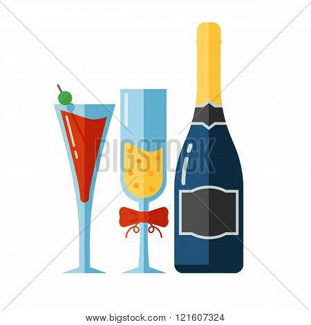Vector Icon Of Alcohol Drinks And Glassess