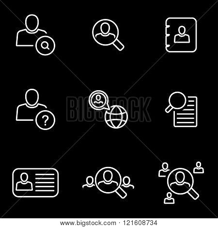 Vector Line People Search Icon Set