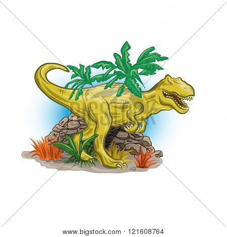 Scary dinosaur in jungle