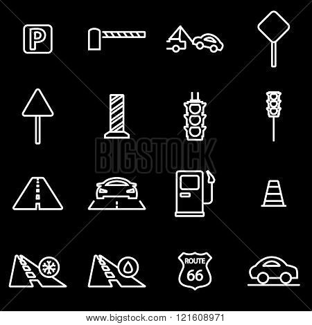 Vector Line Road Icon Set