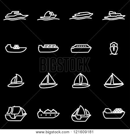 Vector Line Ship And Boat Icon Set
