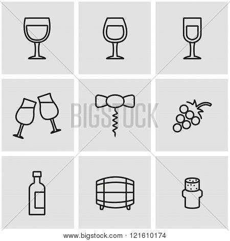 Vector Line Wine Icon Set