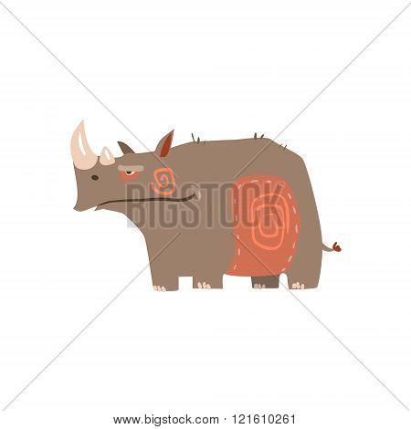 Rhino Standing Flat Cartoon Stylized