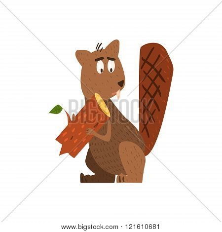 Beaver Holding A Log Flat Cartoon