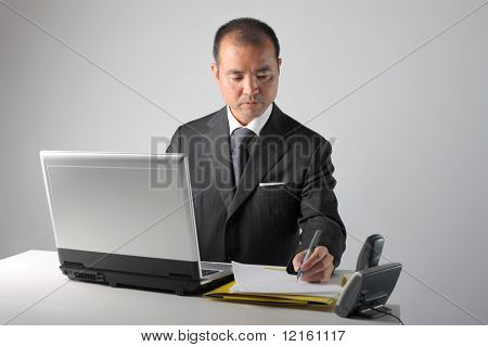 Japanese businessman working