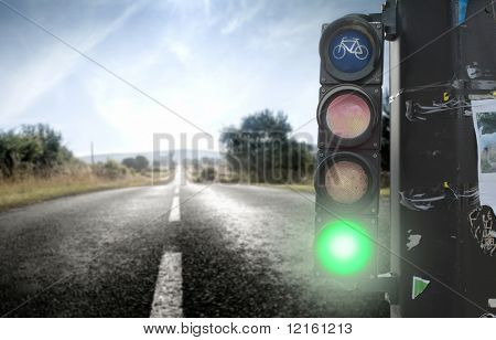 Traffic light on a countryside road