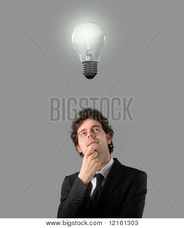 Businessman having an idea