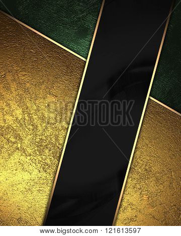 Gold And Green Background With Black Ribbon. Element For Design. Template For Design. Copy Space For