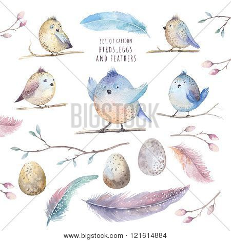 Hand Drawing Watercolor Flying Cartoon Bird Witm Leaves, Branche