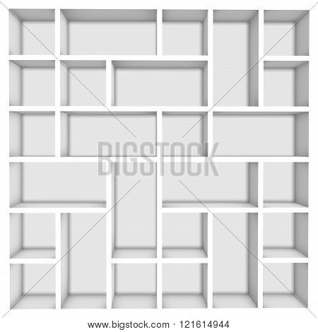 Empty white wooden bookshelf background for your edit