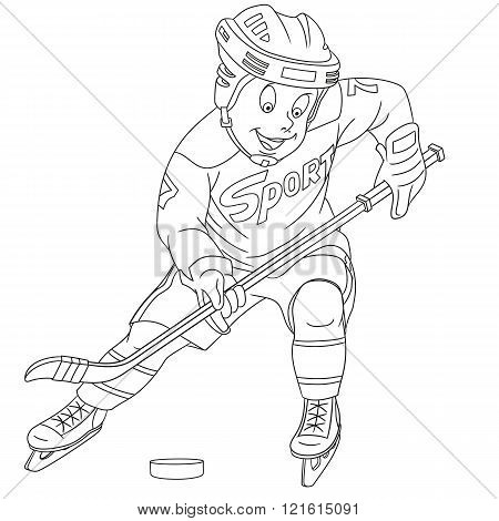 Cute Cartoon Boy Hockey Player
