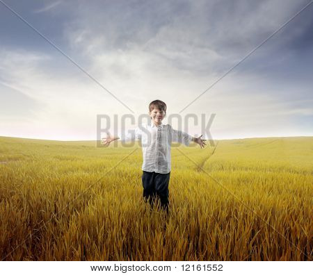 Happy child standing with open arms on a wheat field