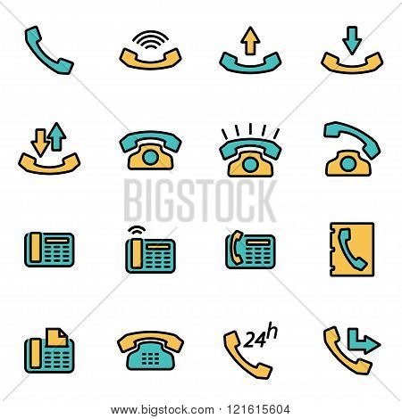 Vector Line Telephone Icon Set