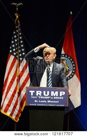 Saint Louis, MO, USA - March 11, 2016: Donald Trump looks at heckler during speech at the Peabody Opera House in Downtown Saint Louis.