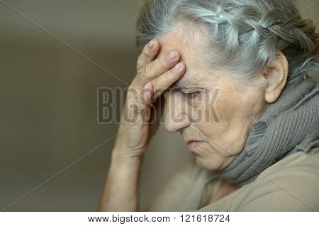 Portrait of a sick elderly woman